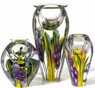 Hollyhock Vases with yellow interior